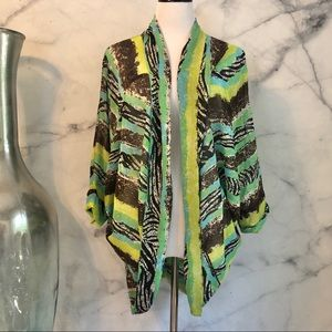 3/$20 Lime and Black Abstract Striped Kimono L